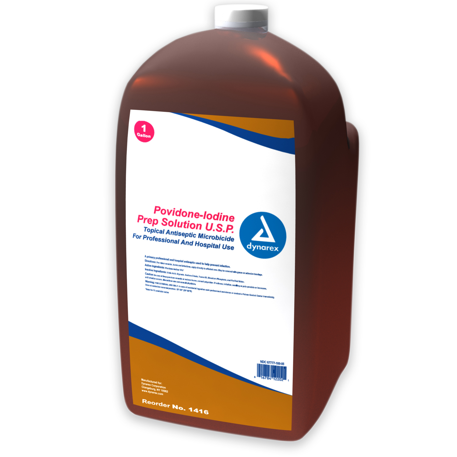 Prep Solution, Dynarex Corporation 1416, Povidone Iodine, Gallon, 4/cs
