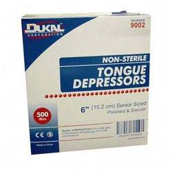 "Tongue Depressor, Dukal Corporation 9002, Senior, 6"", Non-Sterile, 500 Pc/Bx, 10 Bx/Cs"