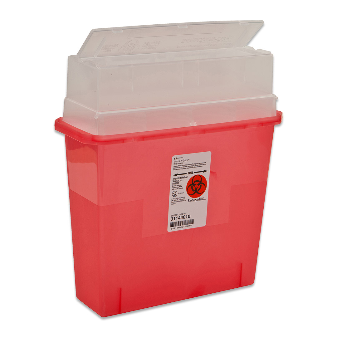 IN-ROOM Sharps Container, Covidien 8507SA, 5 qt, Transparent Red, Sharpstar Lid & Counter-Balanced Door