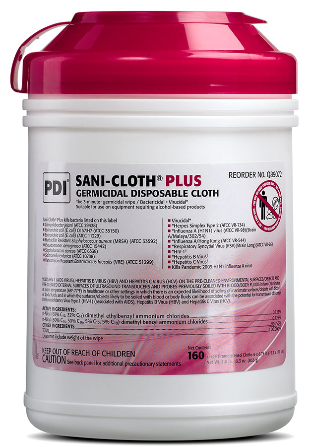 "Wipe, PDI - Professional Disposables, Intl. Q89072, Sani-Cloth Plus, Large, 6"" x 6 3/4"" Red Top"