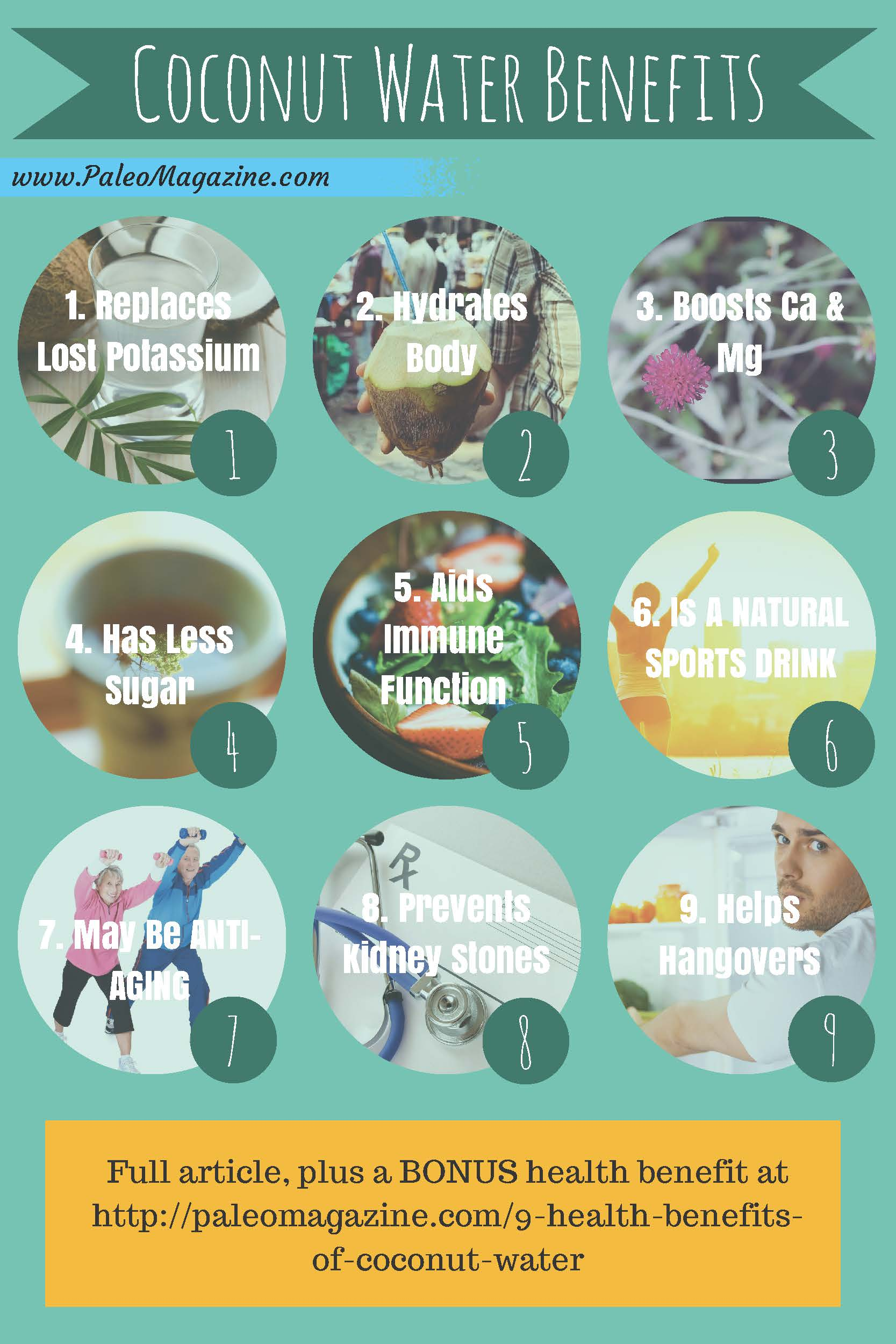 9 benefits of coconut water infographic from paleo living magazine
