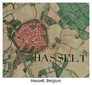 Map of Hasselt, Belgium