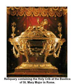 Reliquary containing the Holy Crib at the Basilica of St. Mary Major in Rome.