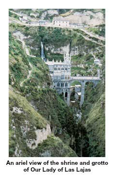 Ariel view of the Shrine and Grotto of Our Lady of Las Lajas