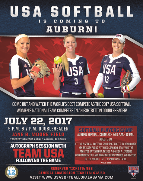 USA Softball Doubleheader Comes to Auburn
