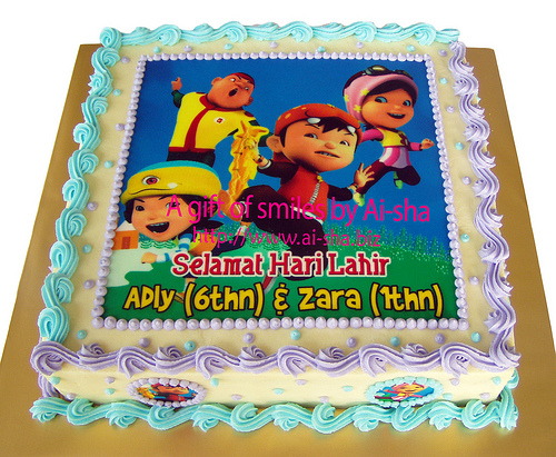 Carrot Cake Edible Image Boboiboy Kek Harijadi Adly Zara Selamat Hari Lahir Adly 6thn Zara 1thn Aisha Puchong Jaya