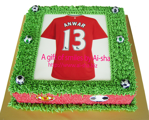 Edible Cake Images Nj : Birthday Cake Edible Image Jersey MU & Fruit Tart - Aisha ...