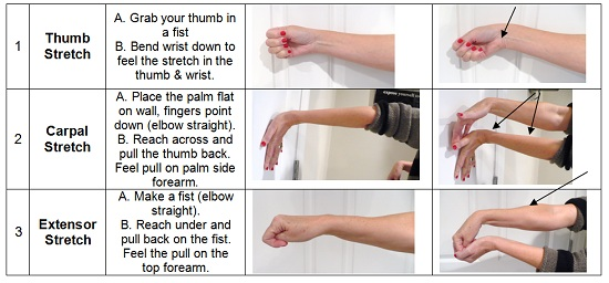 three carpal tunnel exercises demonstrated