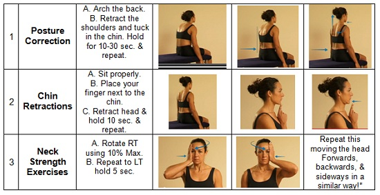 images showing 3 posture exercises