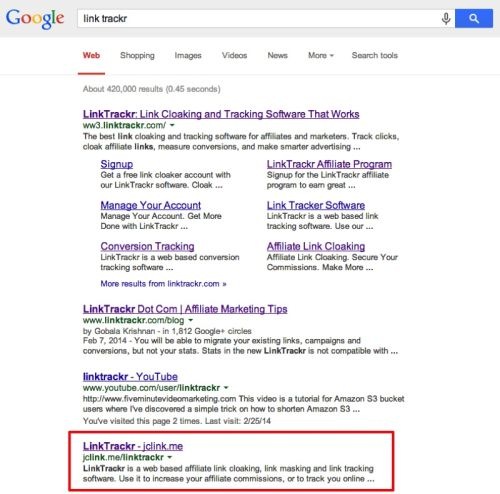 cloaked affiliate links ranking in google