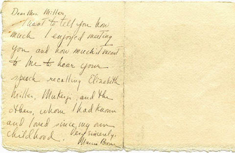 Letter from Martha Brown