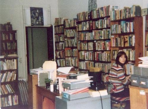 Karen Klockner in the Horn Book editorial office, 1977.