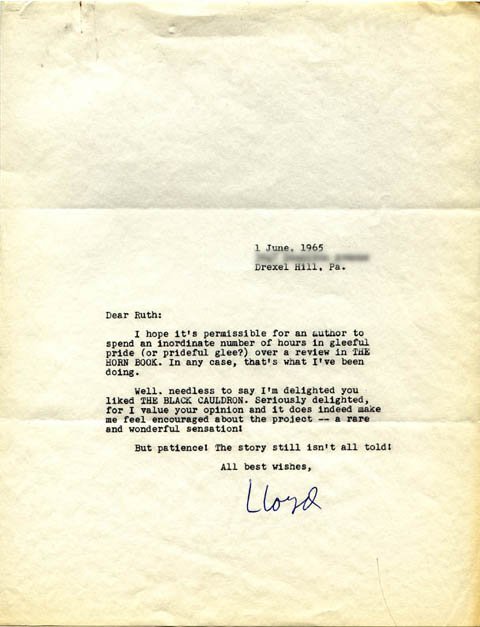 Lloyd Alexander Letter to Ruth Hill Viguers (June 1, 1965)