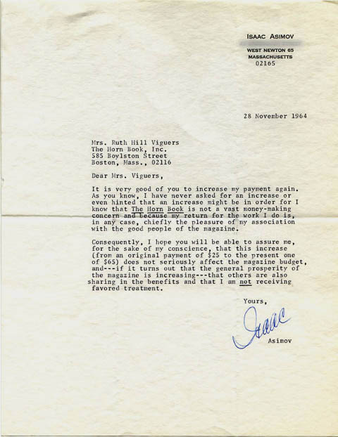 Letter from Isaac Asimov in 1964