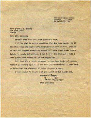 Arna Bontemps letter