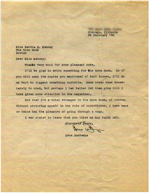 Arna Bontemps Letter to Bertha E. Mahony (February 26, 1938)