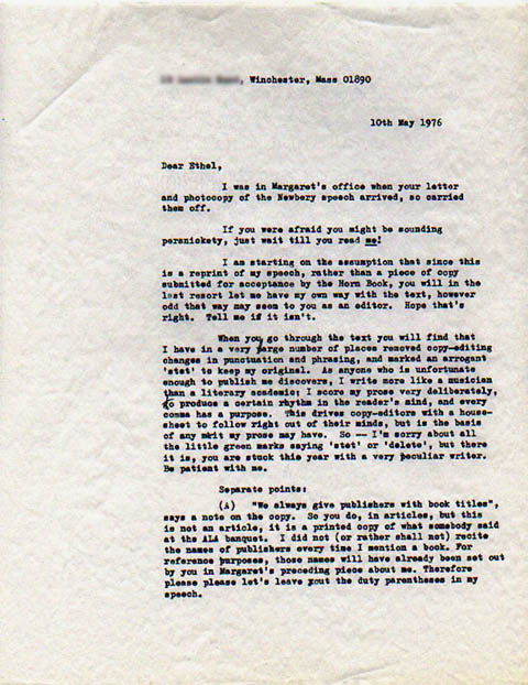 Susan Cooper Letter to Ethel L. Heins (May 10, 1976)