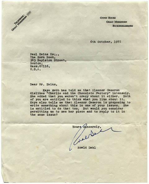 Roald Dahl Letter to Paul Heins (October 6, 1972)