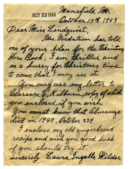 Laura Ingalls Wilder Letter to Jennie D. Lindquist (October 19, 1953)