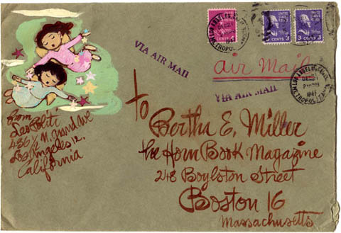 Leo Politi Envelope addresed to Bertha E. Miller (1947)