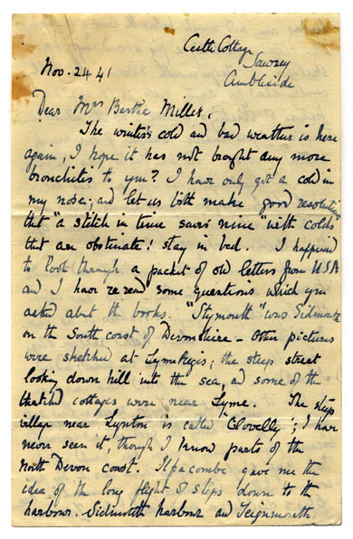 Beatrix Potter Letter to Bertha Mahony Miller (November 24, 1941)