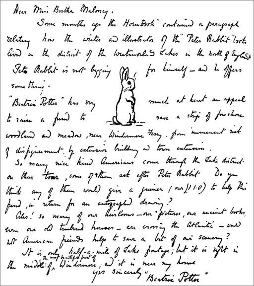Beatrix Potter's 1927 letter to Bertha Mahony