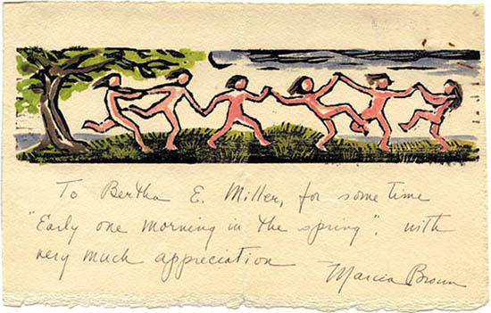 Marcia Brown letter to Bertha Mahony Miller (undated)