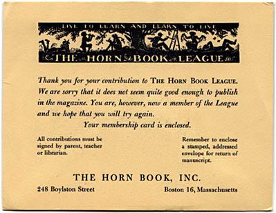 Horn Book League rejection card