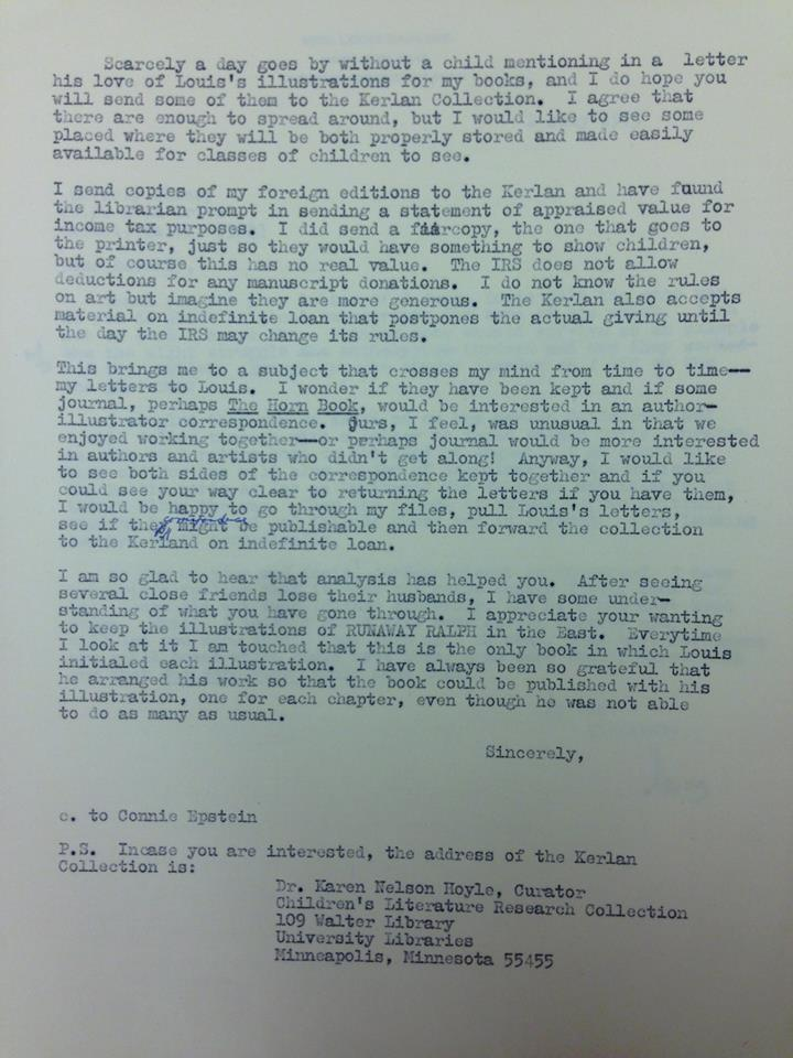 Beverly Cleary letter to Lois Darling