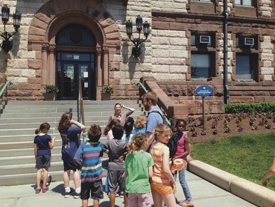 Third- and fourth-grade students outside Cambridge City Hall. Photo: Liz Phipps Soeiro.