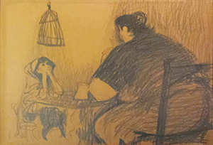 By Ezra Jack Keats: a drawing, on a brown paper bag, of a mother and child that hangs in Martin Pope's home.