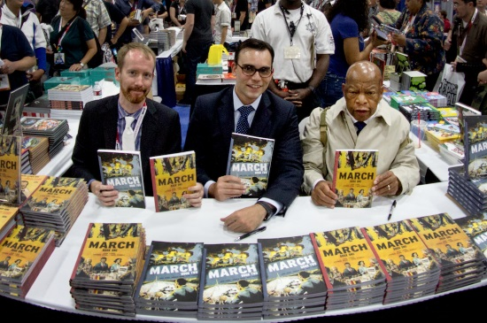 Nate Powell, Andrew Aydin, and John Lewis at Comic-Con 2015. Photo: Justin Eisinger
