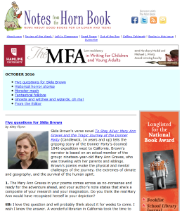 October's Notes from the Horn BooOOooK