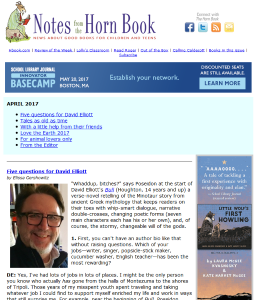 April's Notes from the Horn Book newsletter
