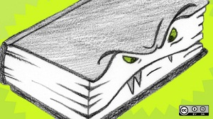 Fanged book drawing
