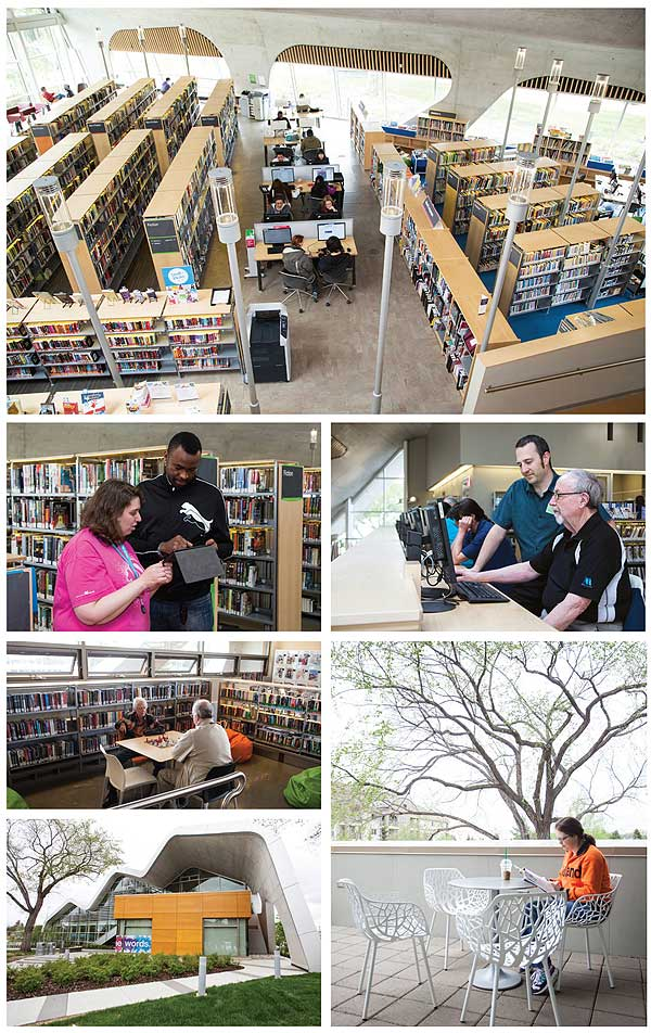 LEARNING CURVES Top: The interior of the innovative and award-winning Jasper Place branch is a highlight of the system. Second row, l.-r.: Library assistant Beth Hallett assists a patron, while community librarian Mike Eaton (standing) offers computer assistance. Third row, l.-r.: Jasper Place offers activites for all ages, and an outdoor patio offers a peaceful place to read. Bottom l.: the library's curving roof is a striking sight. Photos by Phil Chin/AP Images for Library Journal
