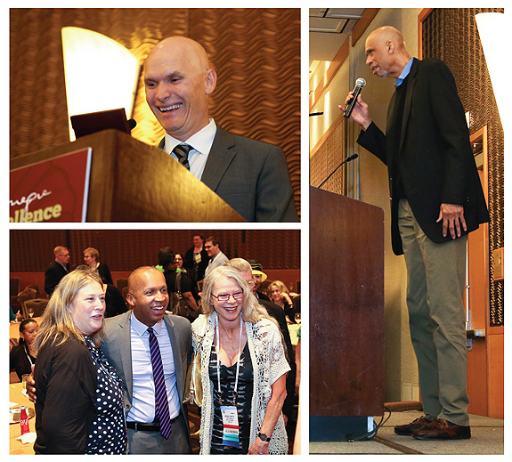 CLockwise from top left: fiction winner Anthony Doerr at the podium accepting his award; keynote speaker Karemm Abdul-Jabbar enlightened the audience, and nonfiction winner Bryan Stevenson celebrates his win. Photos by Tom Graves and James Rosso/TwiceHeroes.com