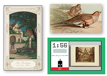 """IMAGINE THAT (Clockwise from l.): A historical menu from NYPL's collections; an illustration of a sandgrouse from the Biodiversity Heritage Library's Flickr stream; and a screen from Tiltfactor's """"Stupid Robot"""" tagging game"""