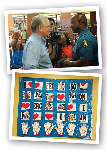 Top: following the turmoil surrounding Michael Brown's death, Missouri governor Jay Nixon (l.) met with Capt. Ron Johnson and the press in the library. Bottom: the library's fall art show drew lots of love to FMPL. Photos courtesy of Ferguson Municipal Public Library