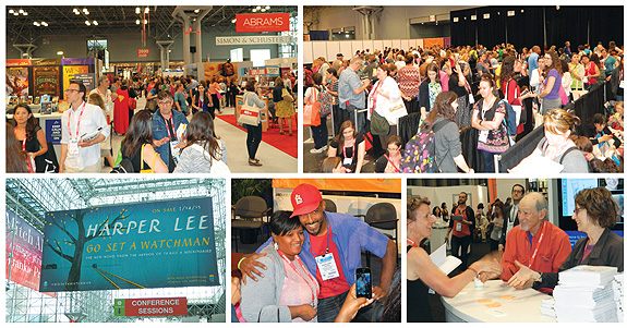 BOOK LOVERS ALL (top row, l.-r.) Action around the Javits Center; autograph sessions call for patience as well as enthusiasm; (bottom row, l.-r.) Harper Lee's upcoming Watchman was promoted big-time; picture-book illustrator Shane Evans poses with fans; Ed Koren and Delia Ephron meet and greet. Photos by Kevin Henegan