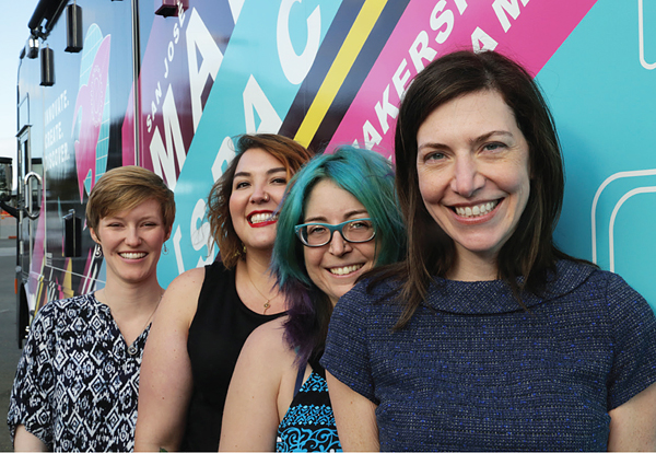 Bookmobile shot needs a caption talking about the initiative and the people behind it. This didn't make it into print, but can go here. Left to right: Casey McCoy, Librarian; Amelia VanderHeide, Librarian; Erin Berman, Innovations Manager; and Jill Bourne, City Librarian. Photo ©2017 Tom Graves