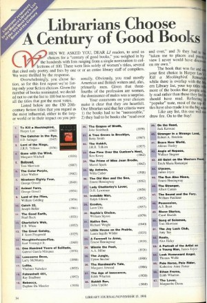 LJ's Best Books of the Century, November 15, 1998