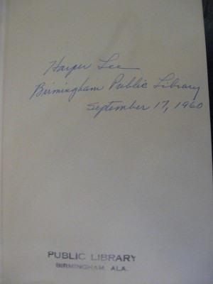 Harper Lee signature in Birmingham Public Library copy of To Kill a Mockingbird IMG_4155