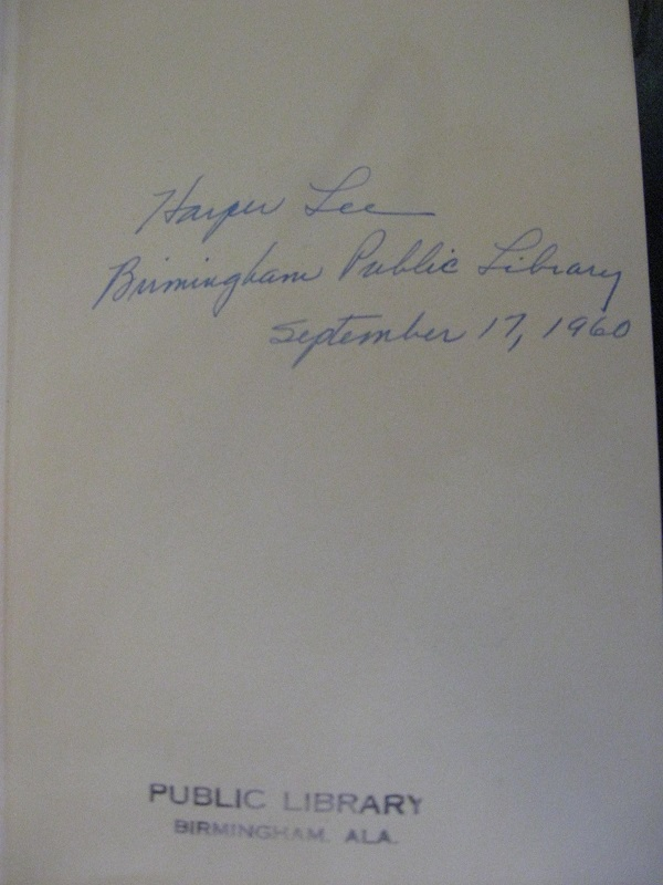 Harper Lee signature in Birmingham Public Library copy of To Kill a Mockingbird