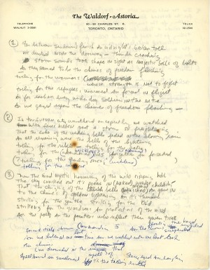 """Manuscript for """"Chimes of Freedcm"""" Courtesy of Bob Dylan archives"""