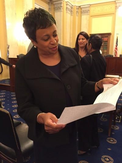 Carla Hayden reading letter of support