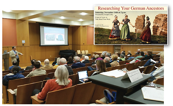 COUNTRY OF ORIGIN At the Darien Library, CT, Joseph Lieby (l., near podium) leads a program on Researching Your German Ancestors (inset). Photos courtesy of Darien Library