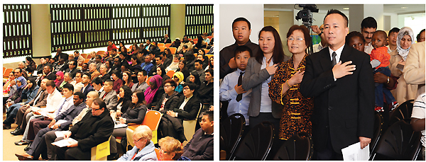 LIBRARY WELCOME MAT (l.-r.): A well-attended program at Buffalo & Erie County PL; a naturalization ceremony at Hartford PL, CT. Left photo courtesy of the Buffalo & Erie Cty. PL; right photo by Homa Naficy, Hartford PL