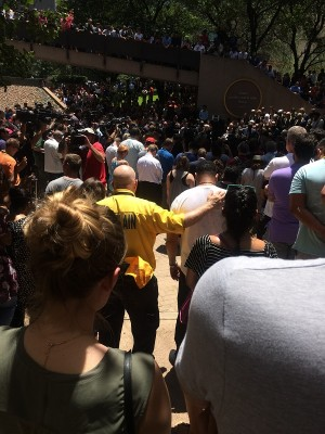 Vigil at Dallas's Thanks-Giving Square on Friday, July 8