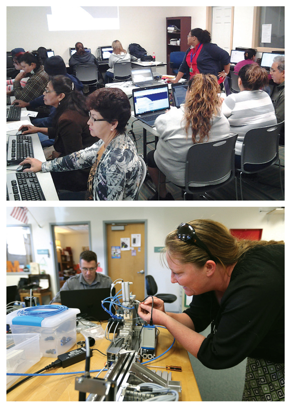 """O-GETTERS (Top): Go where they are—learning """"on the road"""" in the Houston PL Mobile Express. (Inset): Hands-on learning for MT1 certification at the Carson City Library, NV. Top photo courtesy of Houston Public Library; bottom Photo by Cathleen Allison, Nevada Photo Source–C/O Carson City Library"""